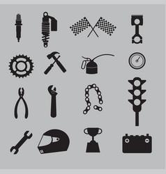 auto racing icon set vector image vector image