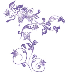 Background with Butterflies and Ornament vector image