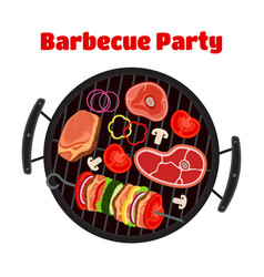 Barbecue - grill station sausage meat shashlik vector