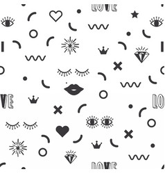 black silhouette feminine fun symbol icons pattern vector image vector image