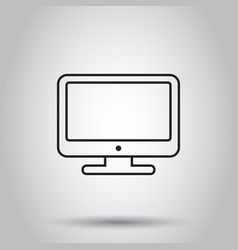 Computer monitor icon in line style on isolated vector