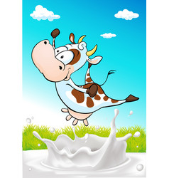 Cute cow jumping over milk splash with natural vector