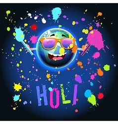Excited earth globe mascot celebrating holi vector