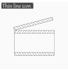 Film clapper board icon Style thin line vector image vector image