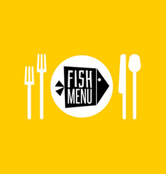 Fish menu icon vector