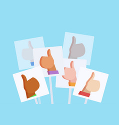 flat with posters with likes vector image vector image
