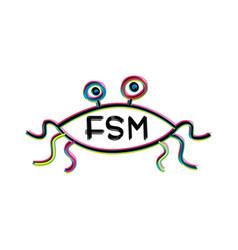 Flying spaghetti monster - atheism satyr god vector
