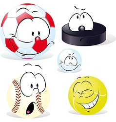 Funny sport ball with face isolated on white - vector