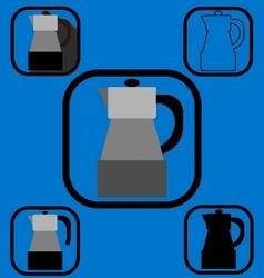 Geyser coffee maker icons set vector