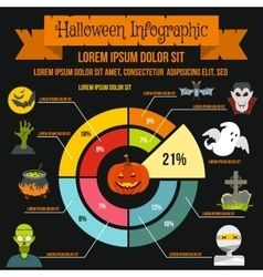 Halloween infographic elements flat style vector image