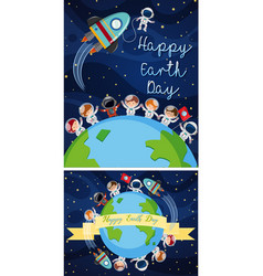 Happy earth day poster with kids in space vector
