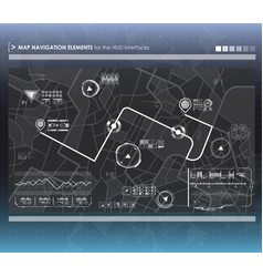 head-up display navigation map elements for the vector image vector image