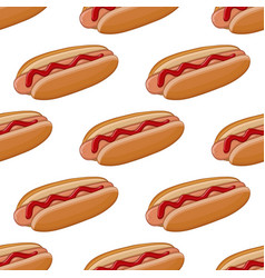 hot dog colored doodle seamless pattern vector image