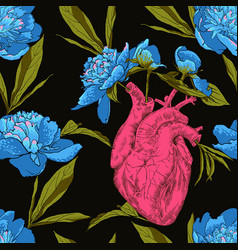 human heart with flowers vector image vector image