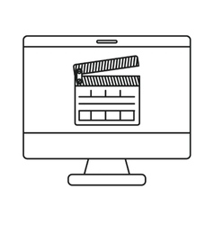 Isolated clapboard and computer design vector