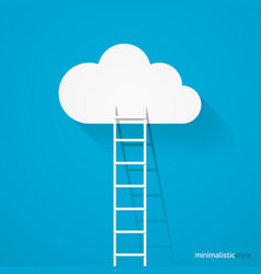 Ladder leading to cloud minimalistic style vector