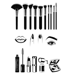 Makeup artist brushs and tools lips nails and eye vector