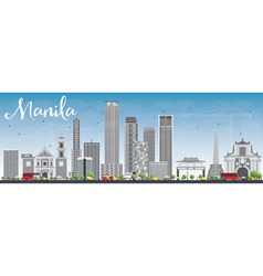 Manila skyline with gray buildings and blue sky vector