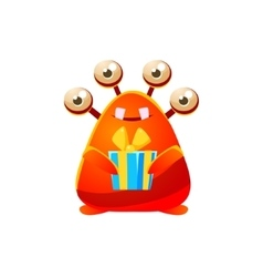 Red toy monster holding wrapped gift vector