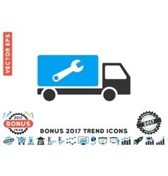 Service car flat icon with 2017 bonus trend vector