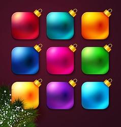 Set of colorful Christmas balls stylized like vector image