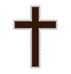 Silhouette brown color wooden cross with swirl vector