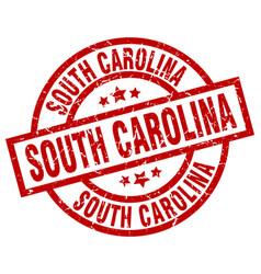 South carolina red round grunge stamp vector