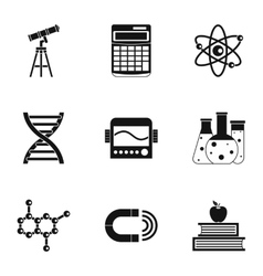 Study of science icons set simple style vector