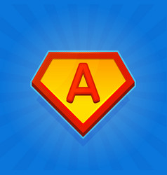 Superhero logo icon with letter a on blue vector