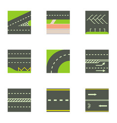 urban road icons set cartoon style vector image