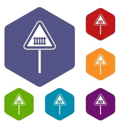 Warning road sign icons set vector
