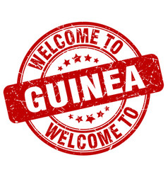 Welcome to guinea red round vintage stamp vector