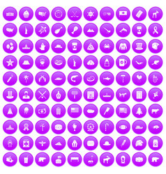 100 north america icons set purple vector
