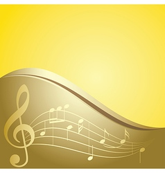 Golden background - curved music notes vector