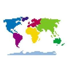 Pixel style map different colors - Isolated vector image