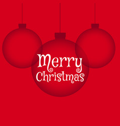 Red background with hanging christmas balls in vector