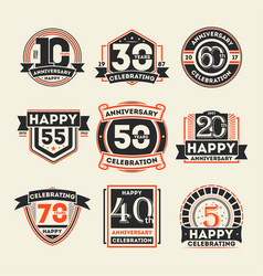 anniversary celebration vintage isolated label set vector image