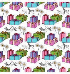 New year wrapping paper gift seamless pattern vector