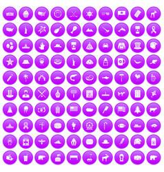 100 north america icons set purple vector
