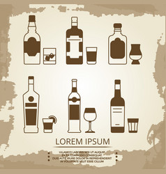 Vintage grunge poster with alcoholic drink icons vector