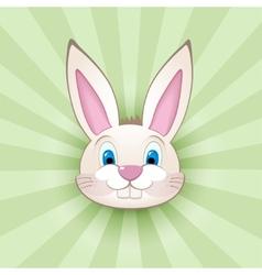 Cartoon bunny head on green vector