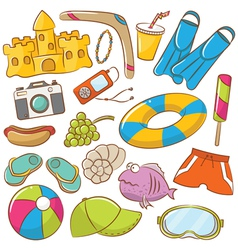 Summer beach icons set vector