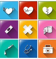 Buttons with the different medical materials vector
