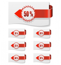 Red discount labels vector