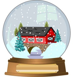 Covered bridge snow globe vector