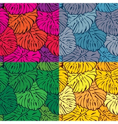 Set of seamless patterns with palm trees leaves in vector