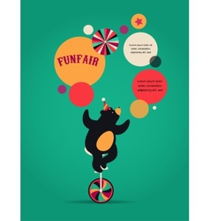 Vintage circus poster background with bear fun vector