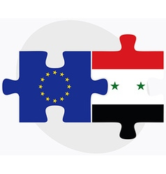 European union and syria flags vector