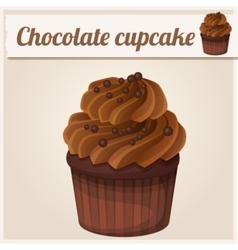 Chocolate cupcake detailed icon vector