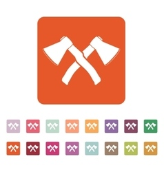The crossed axes icon axe and hack symbol flat vector